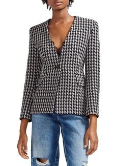 maje Varlone Wool Blend Houndstooth Jacket