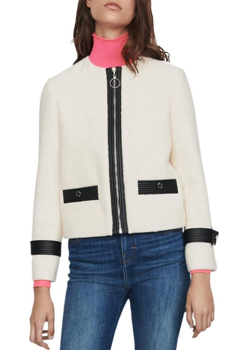 Maje Vemma Tweed Zip Blazer