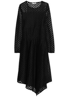 Maje Woman Asymmetric Draped Broderie Anglaise Dress Black