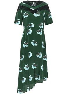 Maje Woman Asymmetric Lace-trimmed Floral-print Crepe De Chine Dress Dark Green