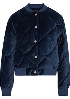 Maje Woman Balou Quilted Cotton-velvet Bomber Jacket Navy