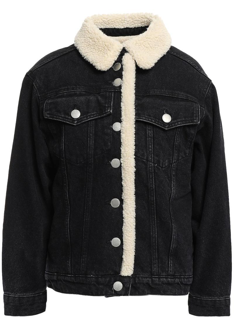 Maje Woman Balta Faux Shearling-trimmed Denim Jacket Black