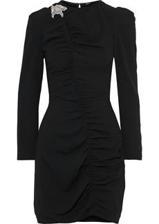 Maje Woman Bead-embellished Ruched Crepe Mini Dress Black