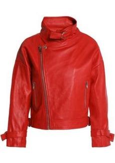 Maje Woman Beline Suede-paneled Leather Biker Jacket Red