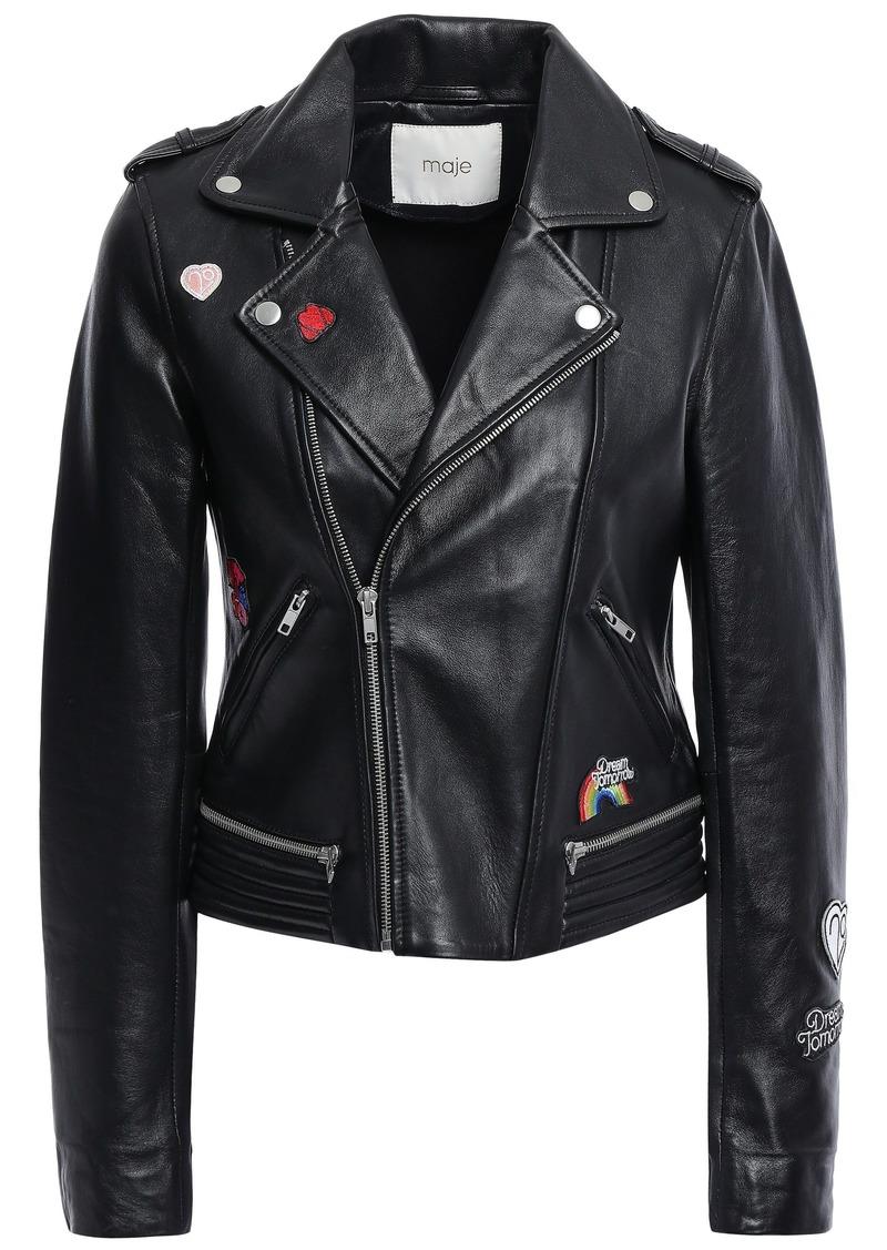 Maje Woman Beliz Appliquéd Leather Biker Jacket Black