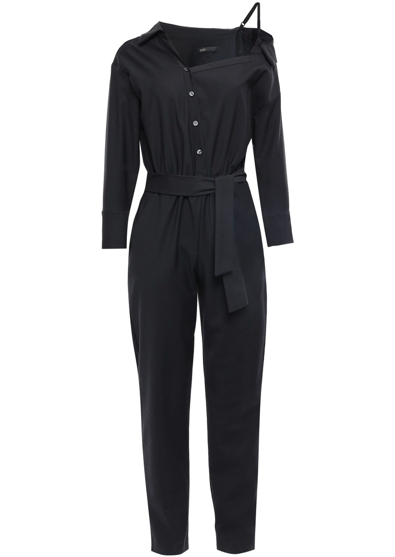 Maje Woman Belted Cutout Woven Jumpsuit Black