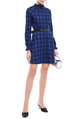 Maje Woman Belted Checked Cotton-flannel Mini Dress Royal Blue