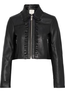 Maje Woman Bollant Cropped Ruffle-trimmed Leather Biker Jacket Black
