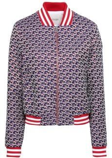 Maje Woman Boyana Floral-jacquard Bomber Jacket Violet