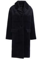 Maje Woman Brushed-woven Coat Midnight Blue