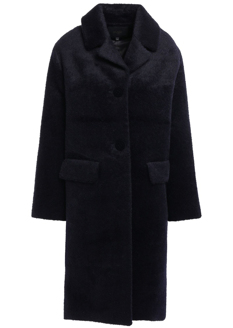 Maje Woman Brushed-woven Coat Midnight Blue