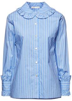 Maje Woman Calia Ruffled Striped Cotton-poplin Shirt Light Blue