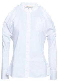 Maje Woman Calinka Cold-shoulder Cotton-poplin Shirt White
