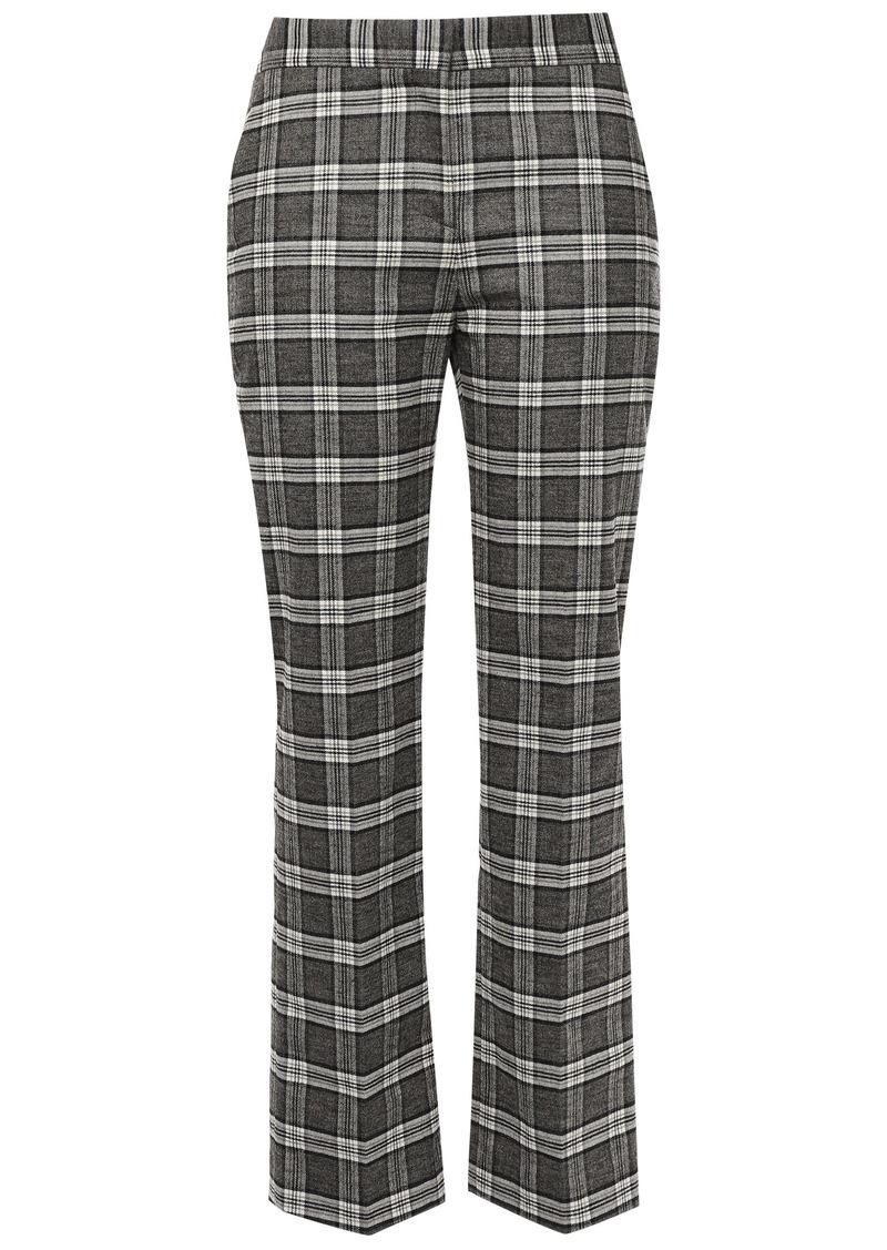 Maje Woman Checked Tweed Straight-leg Pants Gray