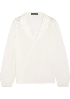 Maje Woman Cocon Wrap-effect Textured-silk Blouse Off-white