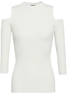 3c2687eeb4b501 Maje Woman Cold-shoulder Ribbed-knit Top Ivory