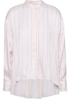 Maje Woman Coquelico Striped Poplin Shirt Off-white