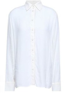 10fbeb86cdacef Maje Woman Cosmos Fringe-trimmed Crepe De Chine Shirt White