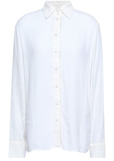 Maje Woman Cosmos Fringe-trimmed Crepe De Chine Shirt White