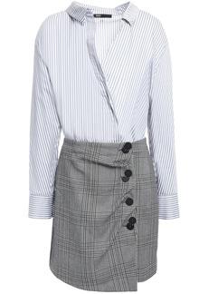 Maje Woman Striped Cotton-poplin And Checked Woven Mini Dress Light Gray