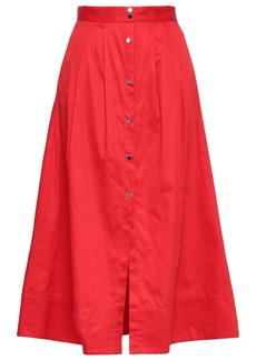Maje Woman Cotton-poplin Midi Skirt Red