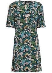 Maje Woman Floral-print Crepe De Chine Mini Dress Black