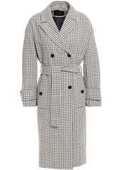 Maje Woman Gessia Checked Woven Trench Coat Beige
