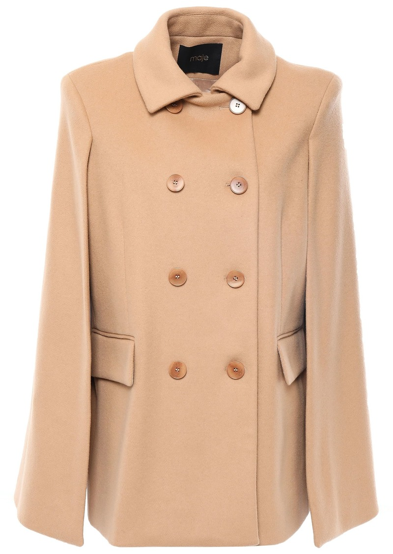 Maje Woman Double-breasted Wool And Cashmere-blend Felt Cape Camel