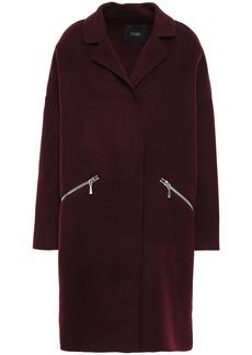 Maje Woman Grimala Wool And Cotton-blend Felt Coat Burgundy