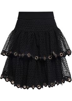 Maje Woman Embellished Tiered Guipure Lace Mini Skirt Black