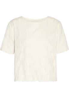 Maje Woman Embroidered Cotton-gauze Top Ecru