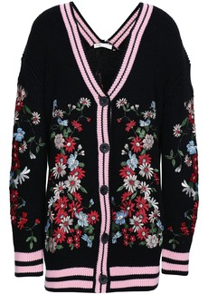 Maje Woman Embroidered Knitted Cardigan Black