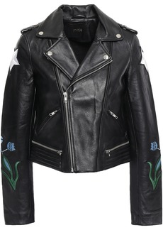 Maje Woman Embroidered Leather Biker Jacket Black