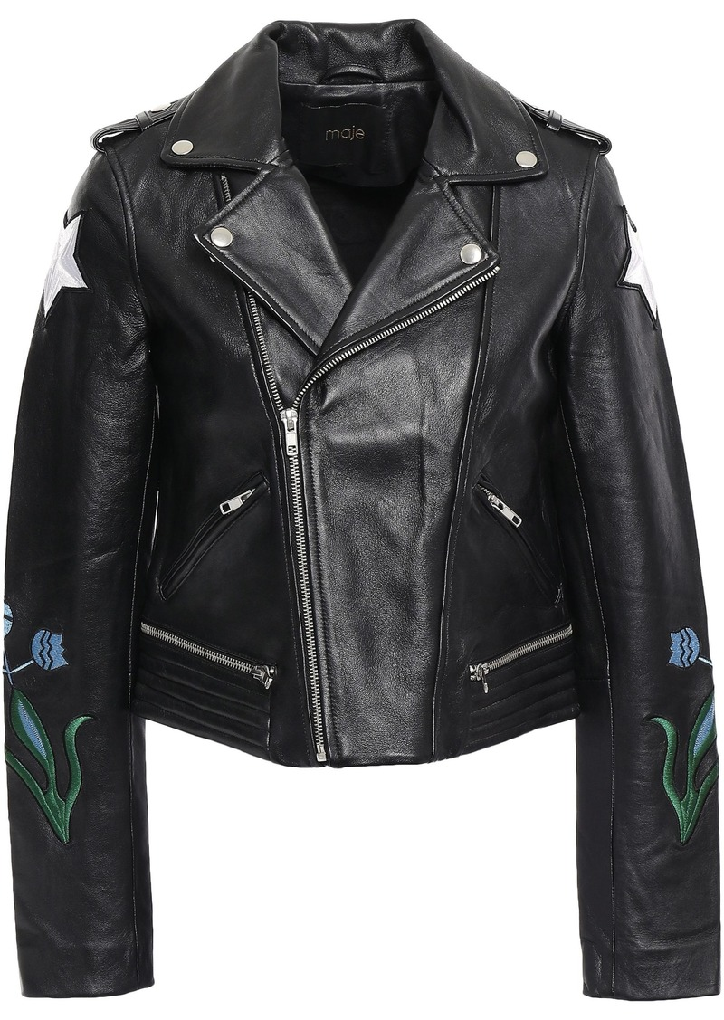 Maje Woman Embroidered Leather Biker Jacket Black