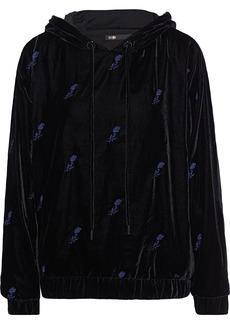 Maje Woman Embroidered Velvet Hoodie Black
