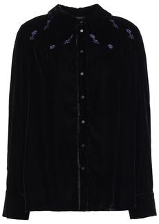 Maje Woman Embroidered Velvet Shirt Black
