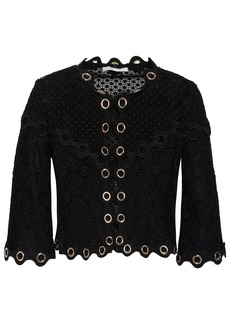 Maje Woman Eyelet-embellished Guipure Lace Jacket Black