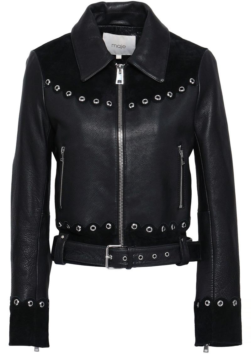 Maje Woman Eyelet-embellished Suede-paneled Leather Biker Jacket Black