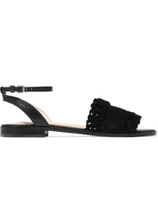 Maje Woman Faith Leather And Laser-cut Suede Sandals Black