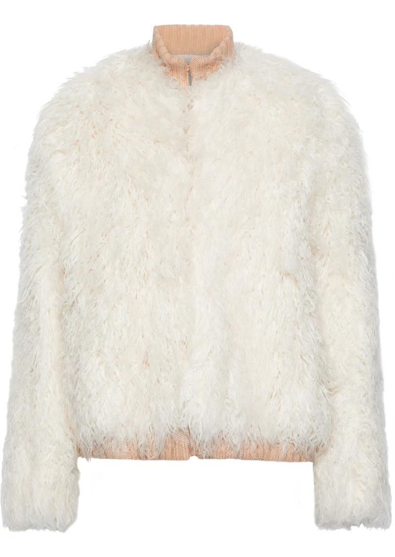 Maje Woman Faux Fur Jacket Ecru