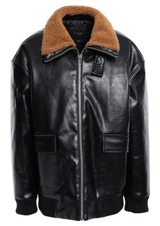 Maje Woman Faux Leather Bomber Jacket Black