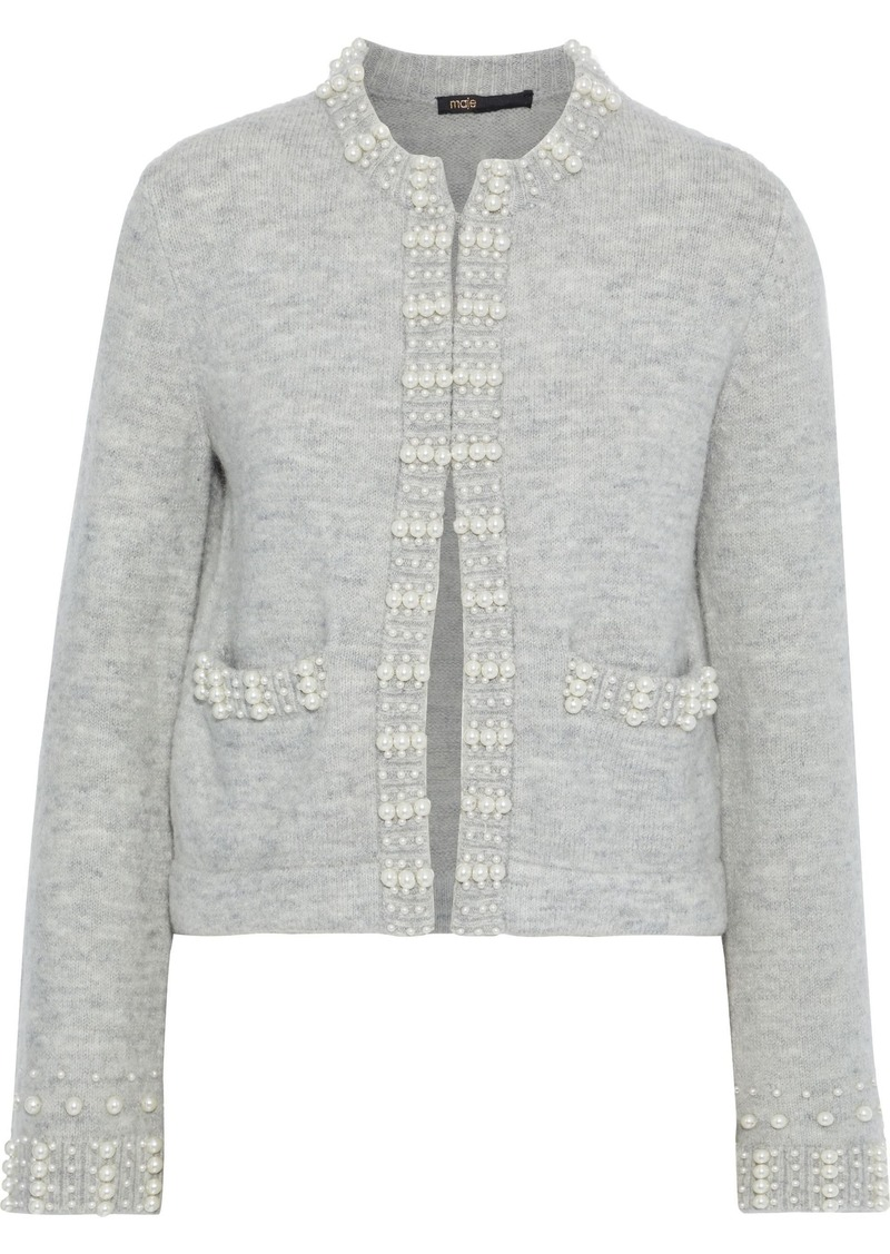 Maje Woman Faux Pearl-embellished Brushed Ribbed-knit Cardigan Gray