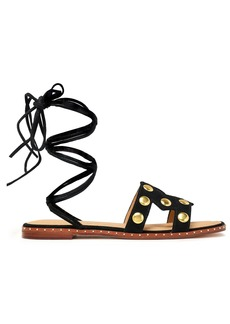 Maje Woman Fiou Cutout Studded Suede Sandals Black