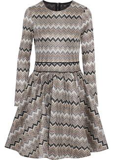 Maje Woman Flared Crochet-knit Dress Brown