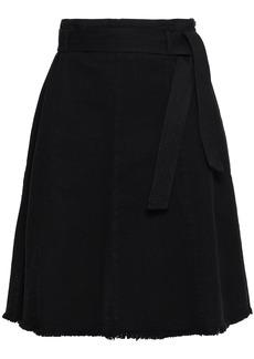 Maje Woman Fringed Denim Skirt Black