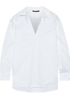 Maje Woman Gathered Grosgrain-trimmed Cotton-poplin Shirt White