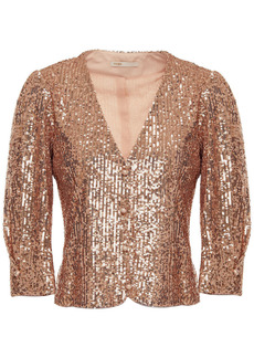Maje Woman Gathered Sequined Tulle Top Rose Gold