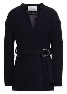 Maje Woman Gato Belted Cotton-blend Jacket Black