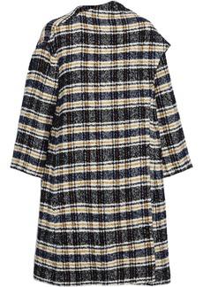 Maje Woman Giolina Draped Checked Tweed Coat Storm Blue