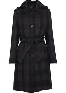 Maje Woman Gobani Checked Twill Hooded Coat Charcoal